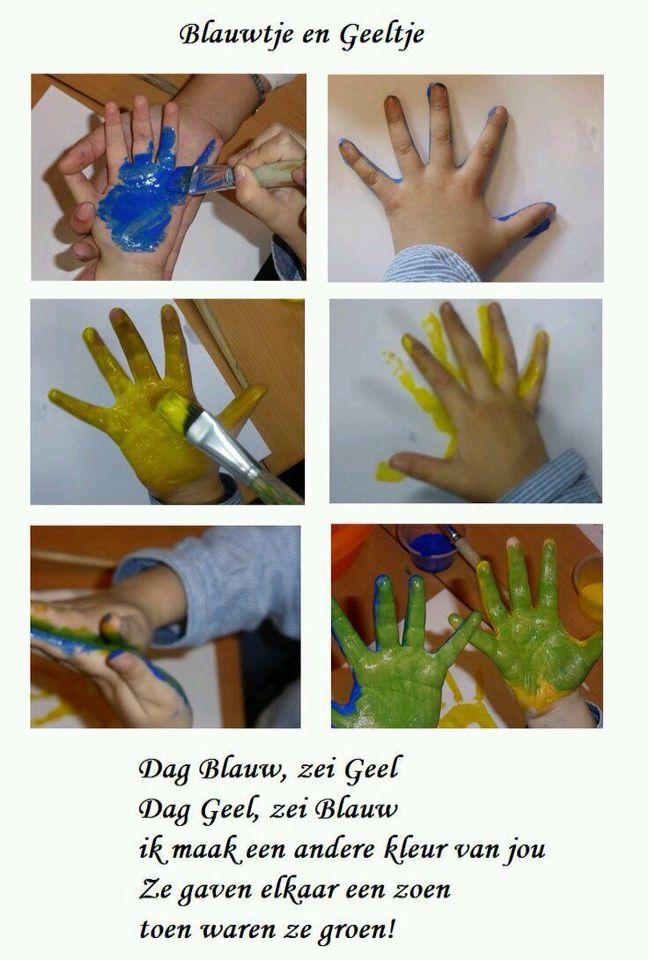 Blauw + geel = groen  Kleuren mengen met kleuters