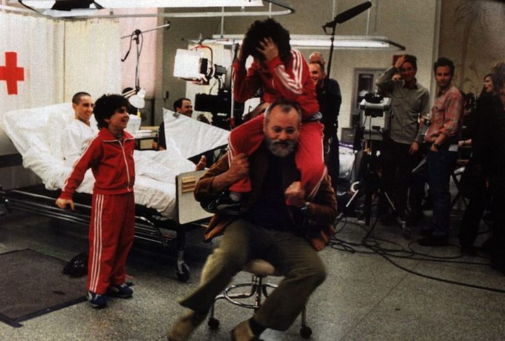"""Dietro le quinte - Luke Wilson e Bill Murray sul set del film di Wes Anderson """"I Tenenbaum"""""""