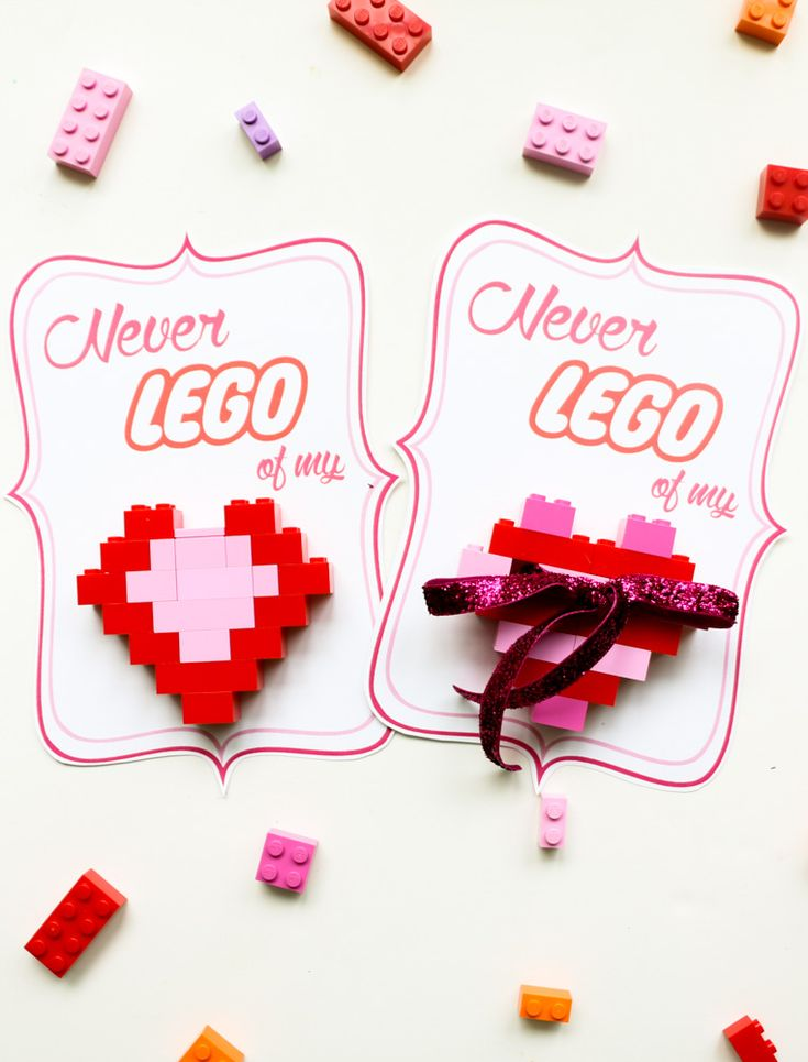 """DIY LEGO Heart Valentines - The kids will love helping make these """"Never LEGO of my"""" heart Valentines for their friends, with free printables included!"""