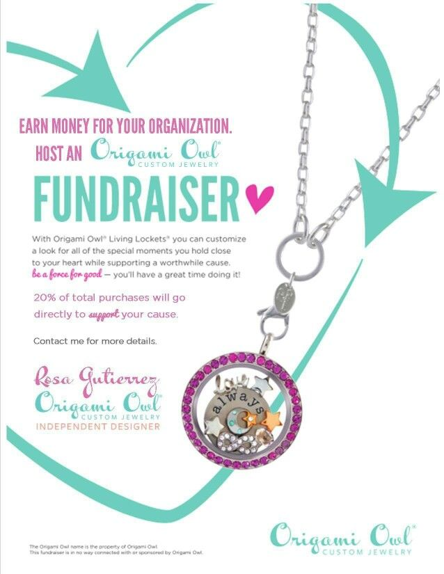 Make money for your organization with an Origami Owl Fundraiser!  Contact me at www.rosag.origamiowl.com for more information!