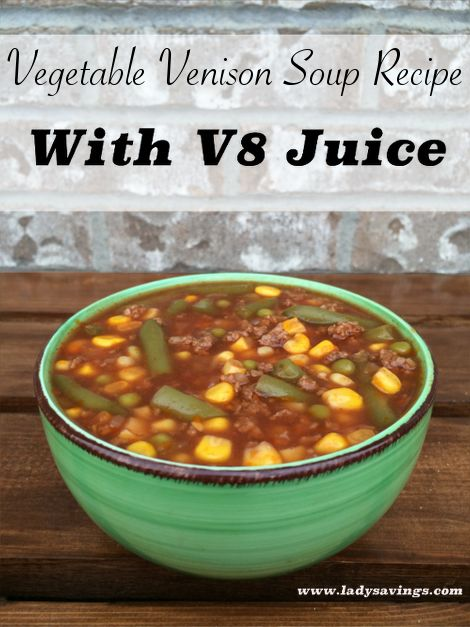 Vegetable Venison Soup with V8 Juice Slow Cooker Recipe. www.ladysavings.com