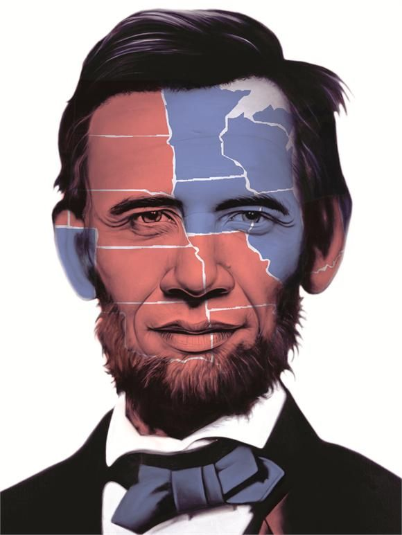 Abraham Obama Electoral Map 2012 Print | Artist: Ron English