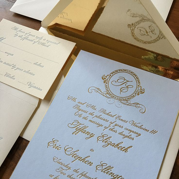 Woolwine Gold Foil Wedding Invitation on 2 ply