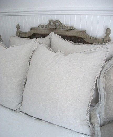 Belgian Linen Mini Ruffle Pillow with Down Insert From Full Bloom Cottage on esty