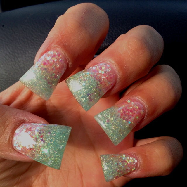 Tiffany blue flare tip nails! Shape and tip