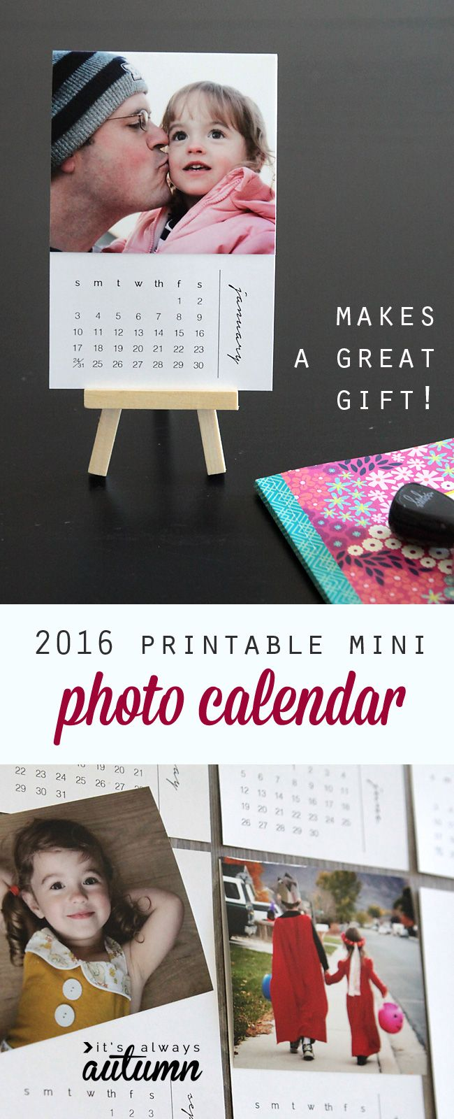 Free printable 2016 mini photo calendar - personalize it with your own photos for an easy, inexpensive handmade Christmas gift idea! Perfect for Dads or Grandparents. This would work as a mini desk calendar, or hang all 12 months for a pretty DIY wall calendar.: