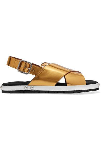 Marni - Laser-cut Metallic Leather Sandals - Gold - IT39.5