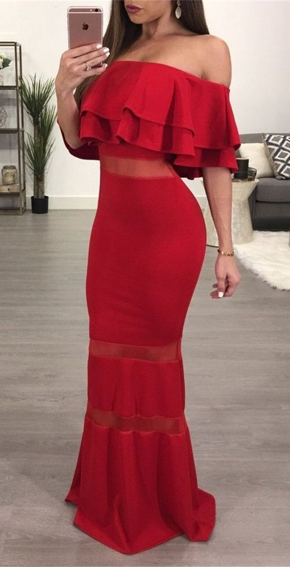 elegant off the shoulder red prom dress with ruffles, bodycon mermiad illusion red party dress