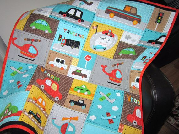 Baby Quilt Boy Vroom Toddler Car Quilt Baby Bedding by diningout, USD 128.00 Kid s Room ...