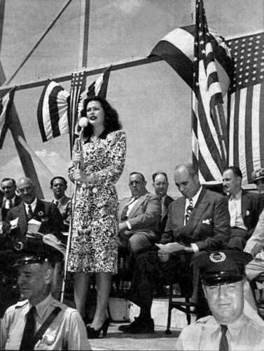 Beautiful Hedy Lamarr on a war bond-selling tour during WWII