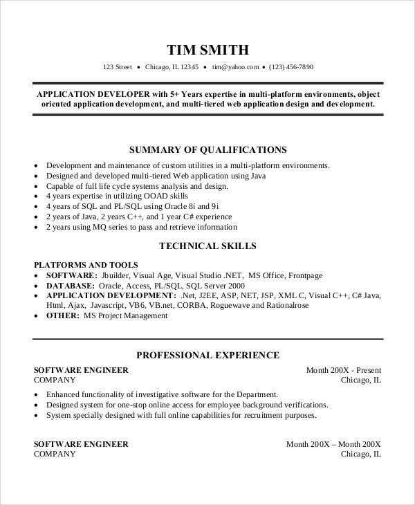 Pin Di Resume Template Job