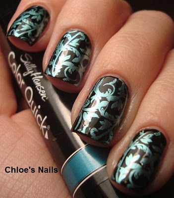 Black w/turquoise stamp art (Sinful Color's Black on Black & Sally Hansen Color Quick Chrome polish pen, in Turquoise Chrome. Bundle Monster plate BM20)