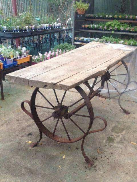 Barn wood iron wheels