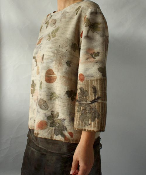 Eco printed silk blouse by Monika, from Red 2 White.