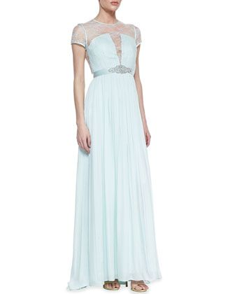 Short Sleeve Lace Bodice Gown, Whisper Green by Catherine Deane at Neiman Marcus.