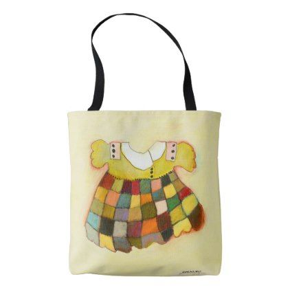 girly cute child's dress yellow tote bag - girly gift gifts ideas cyo diy special unique