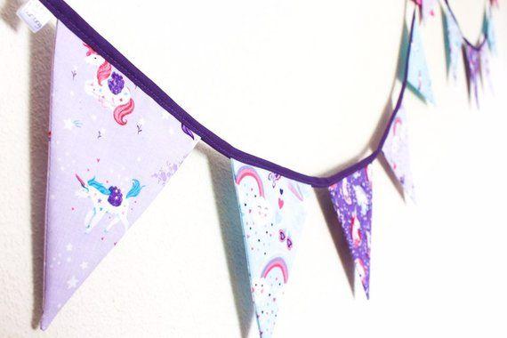Personalised Fabric Bunting Blue//Grey//Pink//Purple//Safari//Jungle//Unicorn//Stars