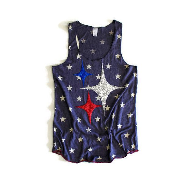 Sequin Star Tank Top 4th of July Tank Sequin Chevron Stars and Stripes... ($42) ❤ liked on Polyvore featuring tops, grey, tanks, women's clothing, grey tank top, party shirts, summer tank tops, sequin tank top and sequined tops