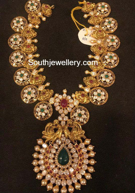 Antique Gold Nakshi Haram with Moissanites