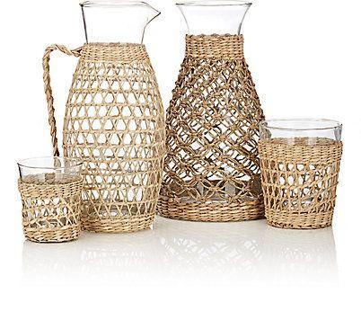 Untitled Homeware Glass & Rattan Wine Glass - Drinkware - 505222380
