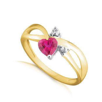 Bague femme Or jaune 10K Rubis Laboratoire en forme de Coeur et Diamants totalisant 1 point Qualité I-GH