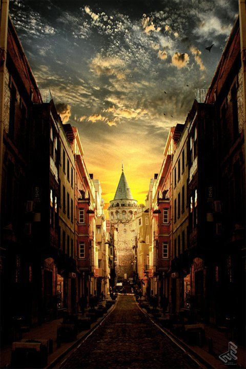 Galata Tower at street's end. Istanbul, TURKEY.most beautiful and most kind people. I would go back in a heart beat