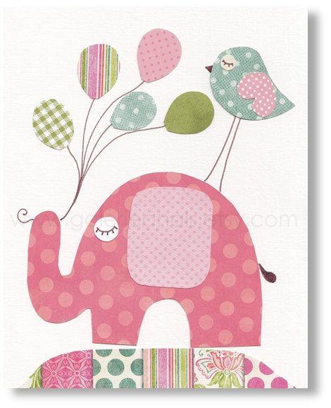 Crianças arte - Decoração bebê - elefante animais - pássaros - a sala da menina - - balão kids art - I Believe I Can Fly impressão