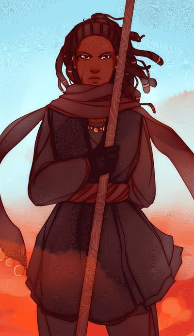 OOOh, I want this to be my next character! Female spellcaster, possibly a monk with a staff. African American, dreadlocks, beautiful practical travel clothes, FIERCE look! Love everything about this. Art by A Banks