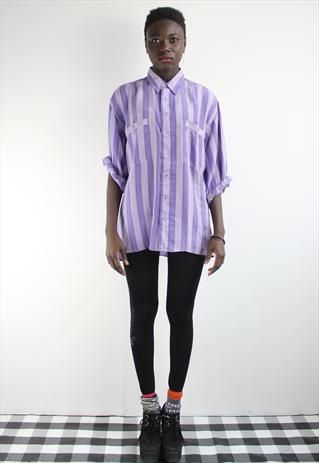 #Vintage Purple Candy Stripe Silk Shirt from Harper and Eye