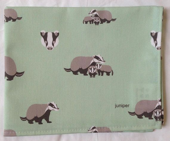 Green tea towel with badger print in 100% cotton