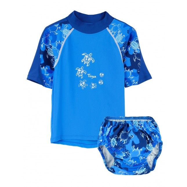 TUGA: Boy's UV Protective Offshore and Swim Diaper Set in Coral. Click Image to SHOP ONLINE!