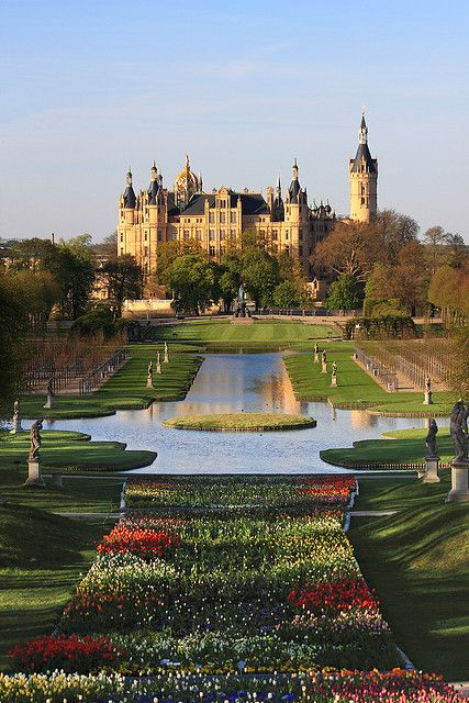 Palace garden in front of Schwerin Castle, Germany