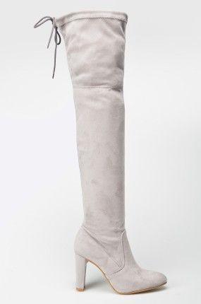 over knee boots Buty - Carinii - Kozaki za kolano jasne szare