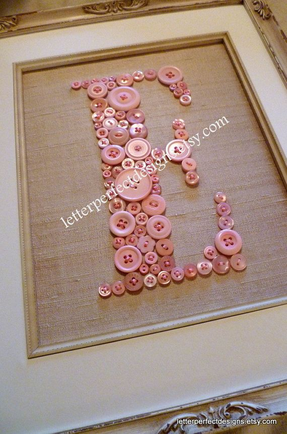 Personalized Baby Nursery Letter Art, Children Wall Art, Pink Button Letter on Antique White Silk, Ready To Frame (frame not included)