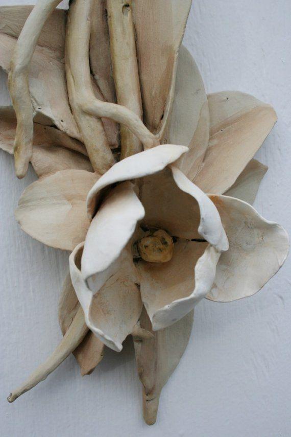Sculpted ceramic magnolia branch. Han made by HouseOfCeramics