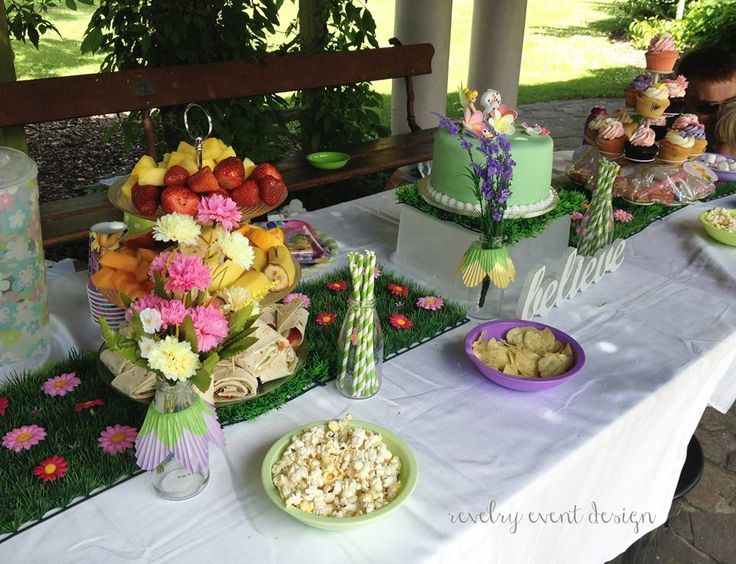 Tinker Bell Birthday | Tinkerbell | Tinkerbell table setting | cupcakes | Tinker Bell theme | birthday snacks | birthday decoration | grass mats | garden party | by Revelry Event Design
