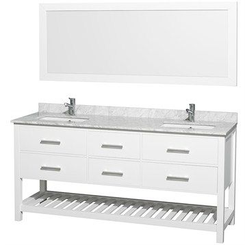 Pics Of Natalie Double Bathroom Vanity Set by Wyndham Collection White with White Carrera Marble