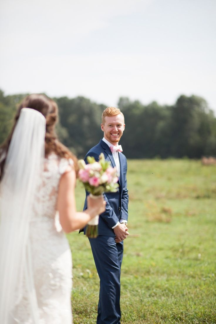 The groom turns to see the bride for their first look. We love that special moment between the couple when time stands still. Wedding photography by Krista Lee Photography. From Alexis & Jagger's wedding. #southernweddings  #brideandgroom       Wedding ceremony and reception venue: @Farrar Hill Farms, Manchester Tennessee     Coordinator: @Michelle Farless  Groom and Groomsmen Tuxes:   @JOS A Banks