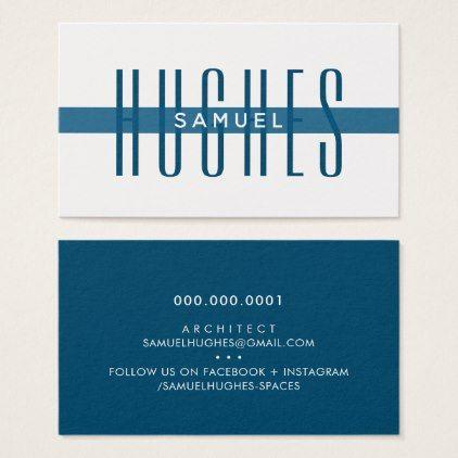 MINIMALIST simple masculine name dark navy blue Business Card - chic design idea diy elegant beautiful stylish modern exclusive trendy