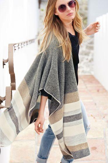 Buy Next Neutral Stripe Blanket Cape | Shop Tops Womenswear at the BrandStore EziBuy NZ