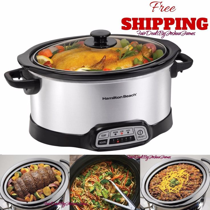 Crock Pot Hamilton Beach Slow Cooker Oval Stainless Steel Programmable Electric