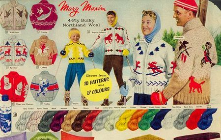 An awesome selection of 1950s Cowichan Sweaters, perfect for skiing, sledding or any other outdoor winter sport
