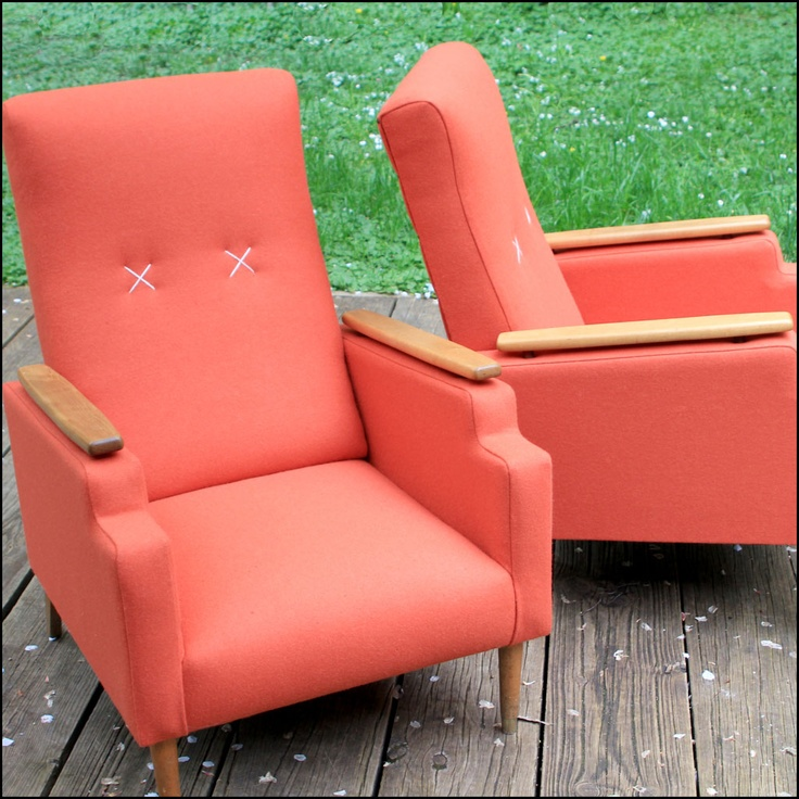 Lovely Old Chairs Re-upholstered In Orange Wool Fabric From flaunt.com.au