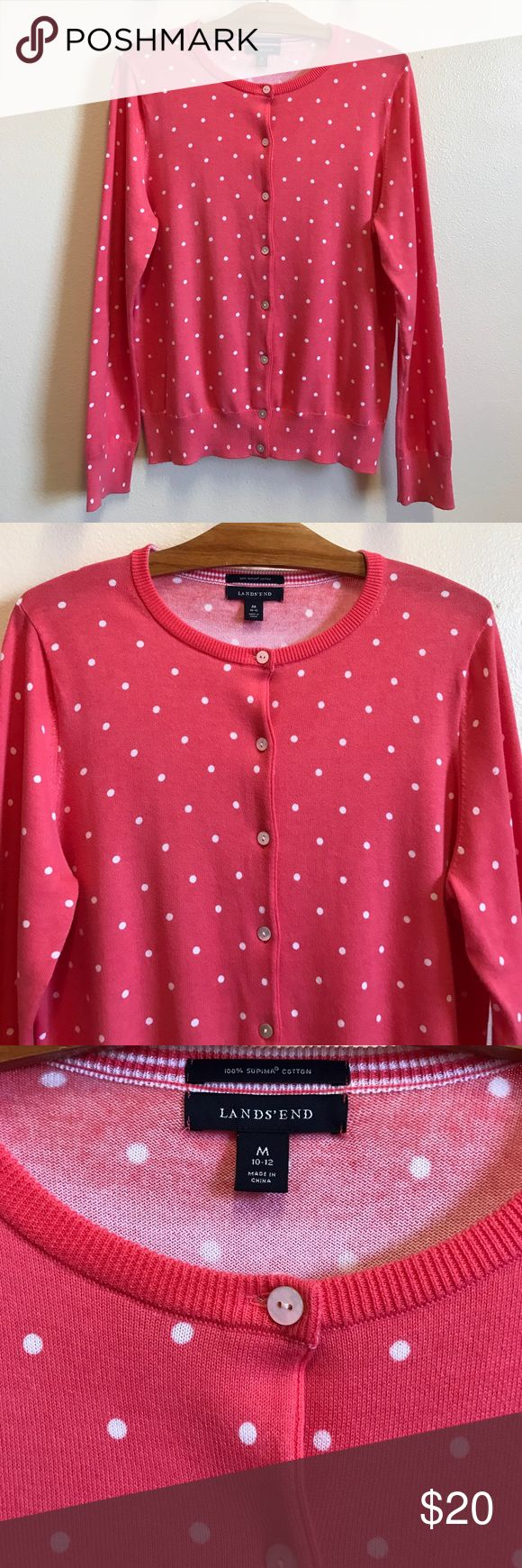 Lands' End Supima Cardigan Sweater women's Medium Lands' End Supima Print Cardigan Sweater women's size Medium. 100% Supima cotton. Coral polka dot. Excellent preowned condition. 🚫 trades, 🚫 off Posh sales. I'm happy to consider reasonable offers. Thank you! Lands' End Sweaters Cardigans
