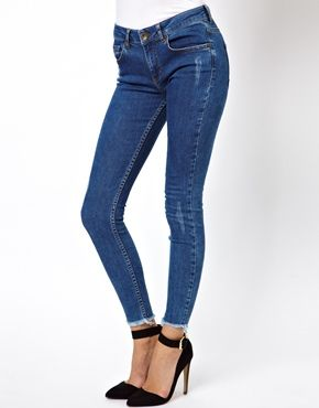 ASOS Ridley High Waist Ultra Skinny Ankle Grazer Jeans in Blue with Ripped Raw Hem