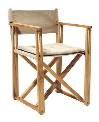 Fauteuil pliant Kryss /Coussin d'assise - Réédition 1975 Teck / Tissu beige - Skargaarden - Décoration et mobilier design avec Made in Design