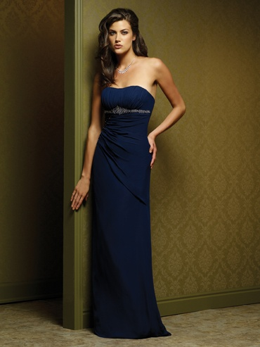 Sheath Strapless Navy Blue Bridesmaid Dresses by Dream Bridal I really like  the color
