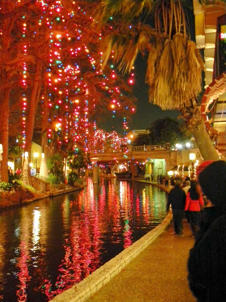 The Riverwalk in San Antonio, Texas at night during the Christmas ...