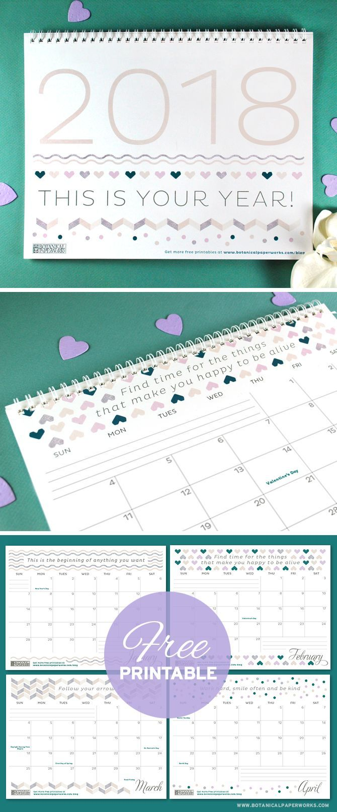 Keep track of life's special moments and feel inspired by the motivational quotes with this free printable calendar. See more designs and download your favorite 2018 calendar on our blog!