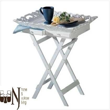 Gracious entertaining is a snap with this stylish tray table! Elegantly aged white finish with a carved rim and two handy drawers; folding legs for easy storage.   #TrayStand #decor #homedecor #elegant #onlineshopping